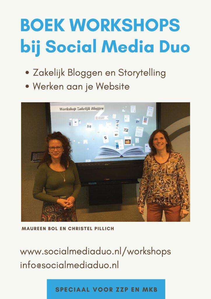 Flyer Social Media Duo Boek Workshops Zakelijk Bloggen en Storytelling Werken aan je website info op www.socialmediaduo.nl/workshops of via info@socialmediaduo.nl